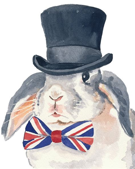 rabbit watercolor print bunny illustration rabbit in a