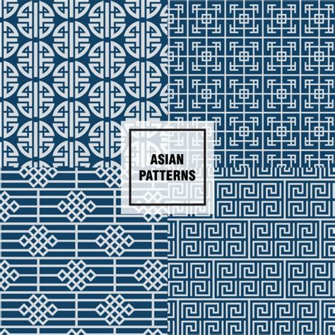 asian pattern ai blue asian patterns design vector free download
