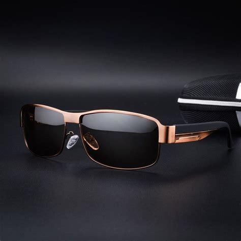 brown polarized mens sunglasses retro luxury metal pilot
