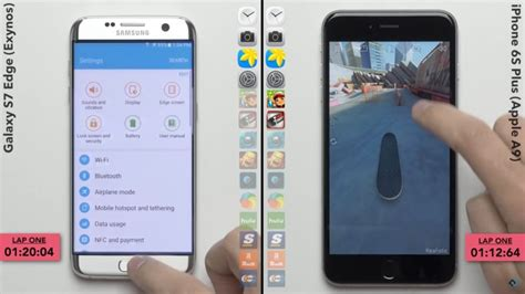 galaxy s7 edge exynos vs iphone 6s speedtest gsmarena