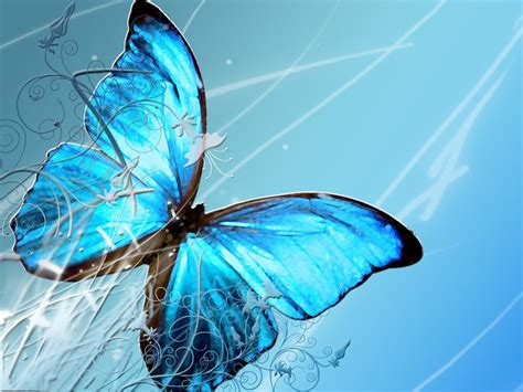 Blue Wallpaper With Butterflies | wallpapers blue butterfly art wallpapers