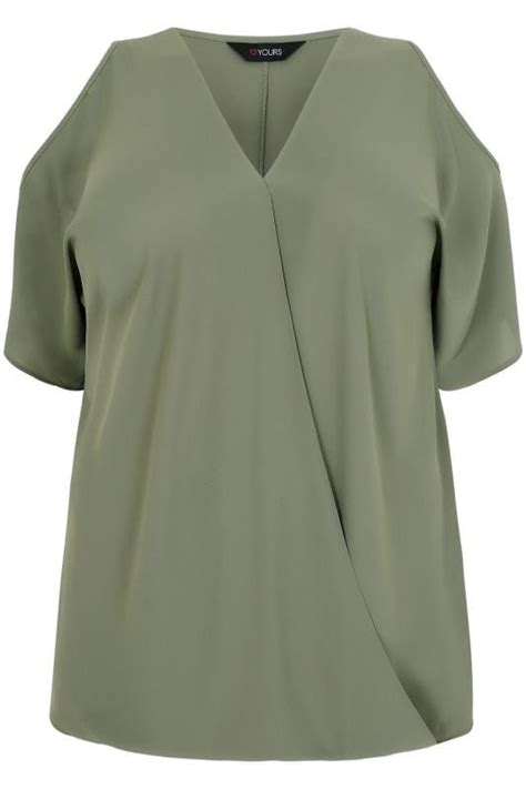 Grosir Blouse Atasan Singlet At 261 V Top Hight Quality khaki cold shoulder wrap front blouse plus size 16 to 36