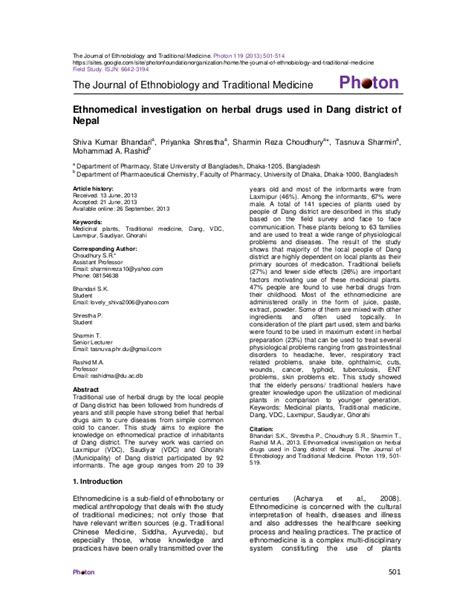 the journal of ethnobiology and traditional medicine ethnomedical investigation on herbal drugs used in dang