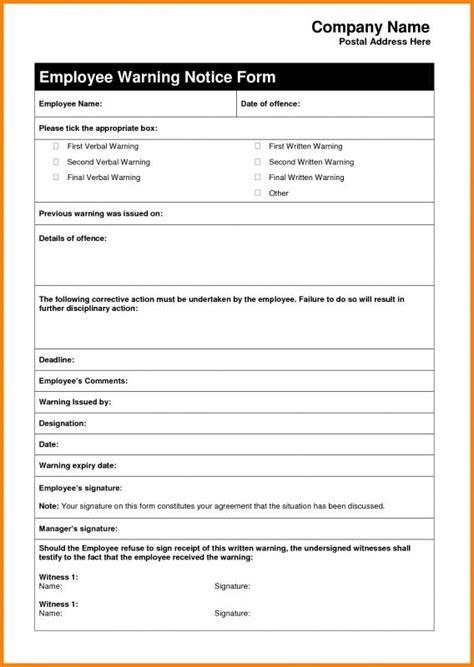 Employee Warning Letter Template Business Employee Warning Template