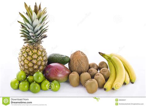 Bowl Of Fruits mango pineapple avocado coconut kiwi lime and banana