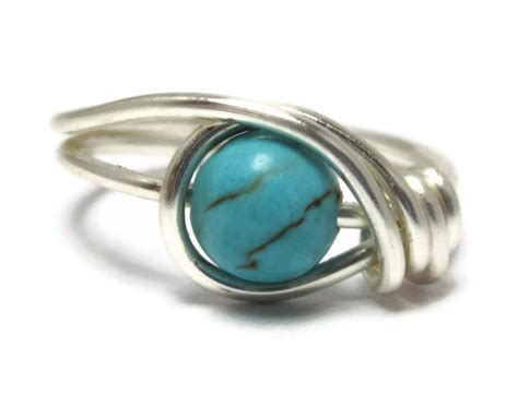 gemstone ring turquoise jewelry custom size wire wrapped