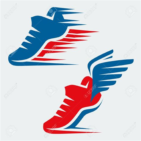 athletic shoes logo winged running shoe clipart 37
