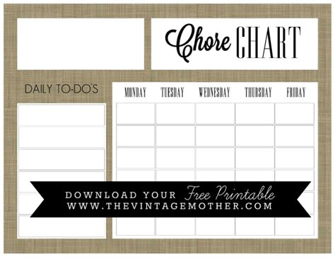 printable monday through friday to do list free printable chore charts for kids fab n free