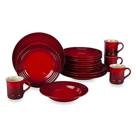 Bed Bath And Beyond Dish Sets Le Creuset 174 16 Dinnerware Set In Cherry Bed Bath Beyond