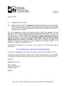 Medicaid Certification Letter dads state tx hospice provider letter 05 09 revised online medicaid