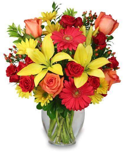 bring on the happy vase of flowers summer flowers
