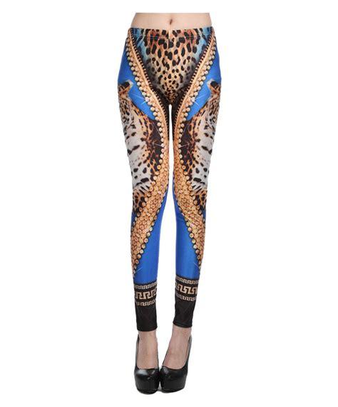 blue pattern leggings diamond leopard head pattern blue leggings china leggings