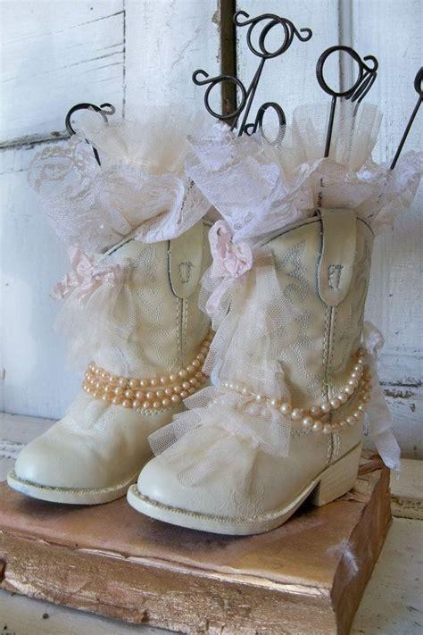 shabby chic cowboy boots photo display wedding cream and