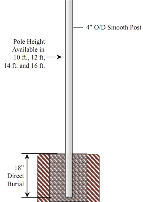 direct burial light pole special lite lighting 4 inch diameter smooth aluminum