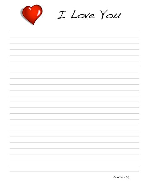 9 best images of love letter templates printable free