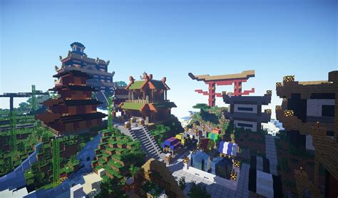 japanese town minecraft cinematic japanese spawn town build