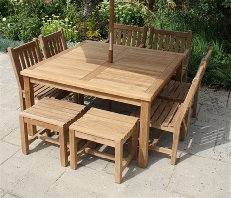 square 8 seater garden table and chairs set