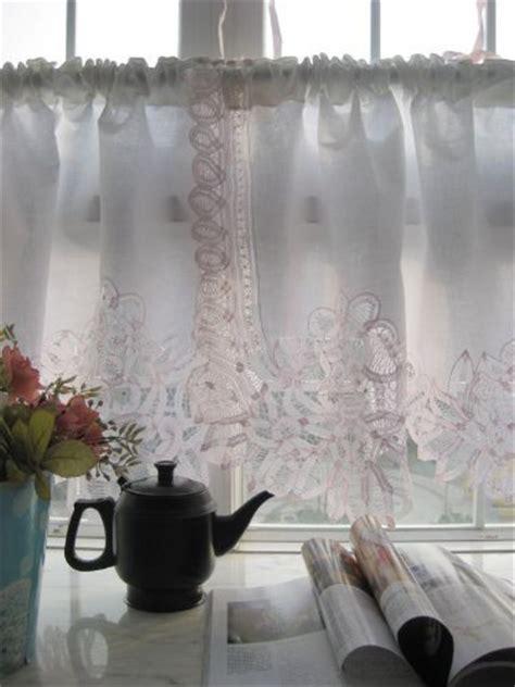 battenburg lace cafe curtains vintage pink battenburg on white cotton valance cafe
