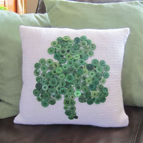 Decorative Pillows With Buttons Button Shamrock Pillow Cover