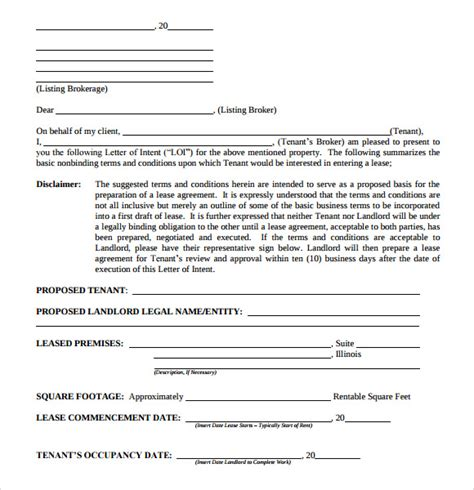 Lease For Commercial Property Template by 10 Letter Of Intent Real Estate Templates To