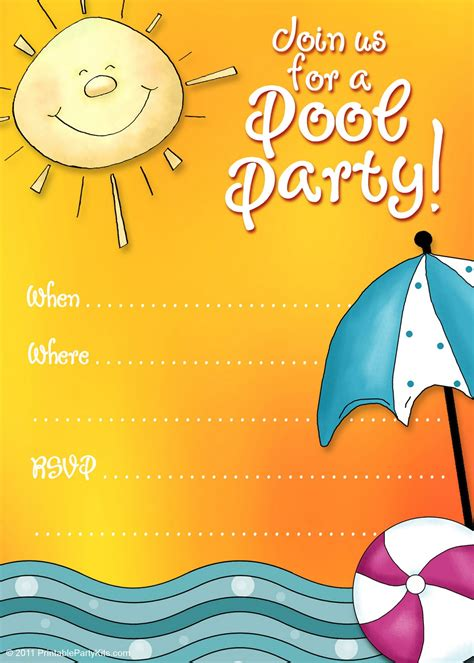 pool invitations free templates free printable invitations summer pool invites