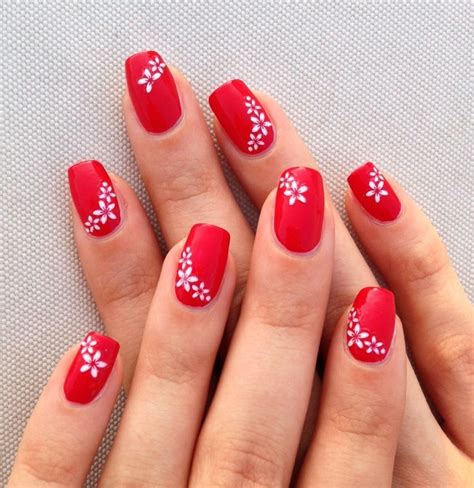 easy nail art with gel polish red nails with white flowers simple nail art nailed