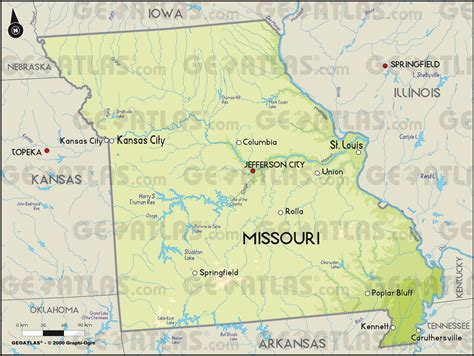 physical map of missouri geoatlas united states canada missouri map city