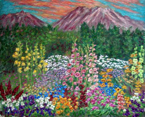 Quot Mt Shasta Sunset With Hollyhock Garden Quot Flower Garden Flower Garden Paintings