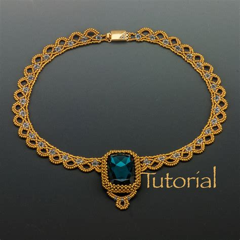 beaded collar beaded necklace tutorial sparkling lace collar digital
