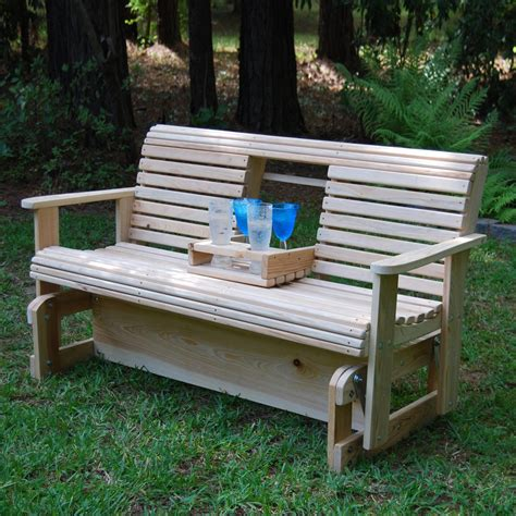 wood bench swing la cypress swings cgf5 flip cup holder glider bench atg
