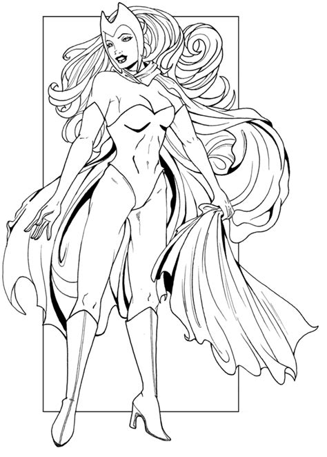 coloring pages scarlet witch scarlet witch line art by jaclynnpocchiari on deviantart