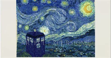 9 geeky variations of a starry night by van gogh epic doctor who print matted van gogh tardis starry night dr