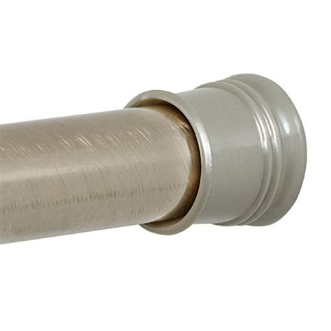 brushed nickel tension shower curtain rod zenna home 505st tension shower curtain rod 43 to 72