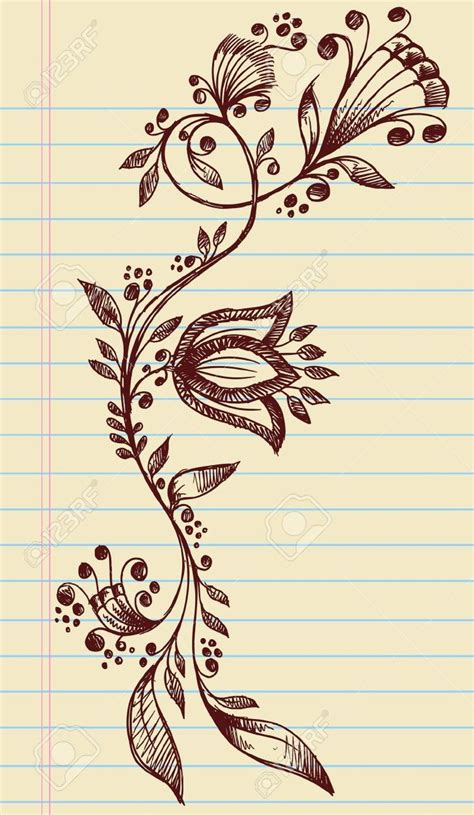 hand drawn tattoo designs sketchy doodle henna flowers and vines