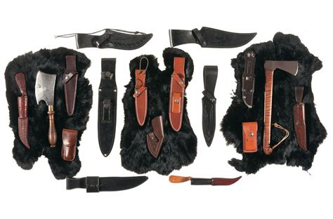 leather knife pouches or sheaths lot of leather knife sheaths pouches edged tools and fur