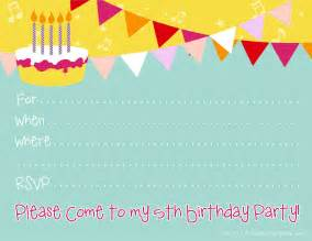 free printable invitations free printable invite for a 5th birthday
