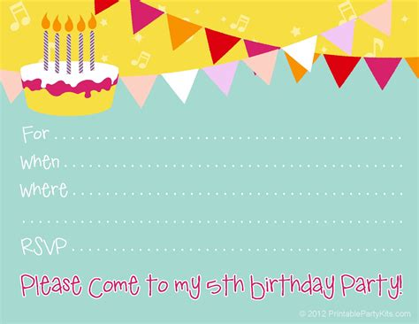 5th Birthday Invitation Cards Printable Free Printable Party Invitations Free Printable Invite