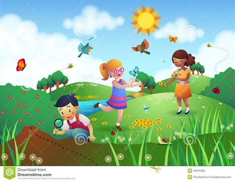 children playing in a garden stock illustration image 46341805