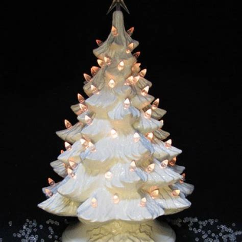 ceramic christmas tree winter white with from