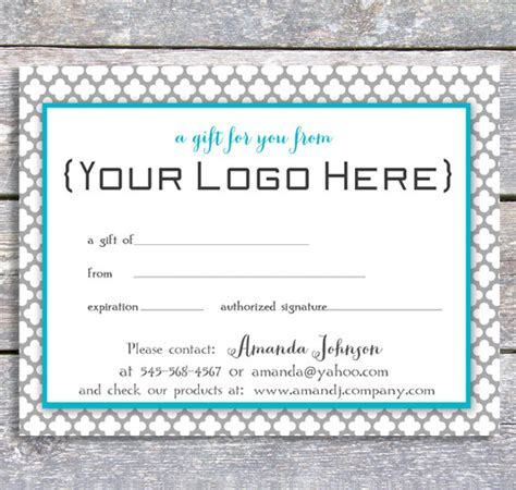 free personalized printable gift certificates personalized gift certificate printable digital blue