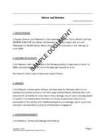 waiver template waiver and release canada templates agreements