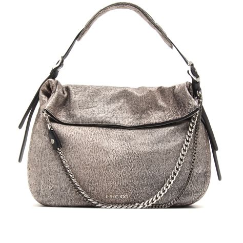 Jimmy Choo Metallic Calfskin Handbag by Lyst Jimmy Choo Large Biker Boho Metallic Leather
