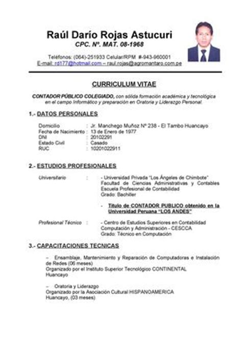 Modelo De Curriculum Vitae De Un Contador Peru Calam 233 O La Carta A Dios