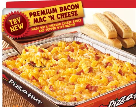 premium bacon mac cheese from pizza hut bacon today