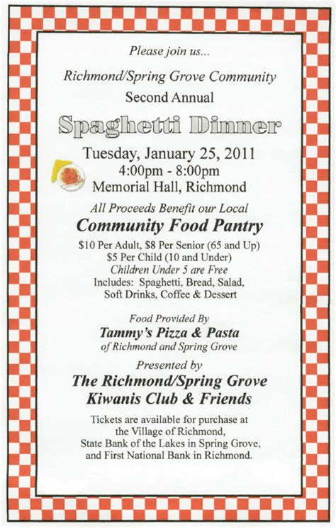 Mchenry County Food Pantry by Kiwanis Dinner In Richmond To Benefit Food Pantry