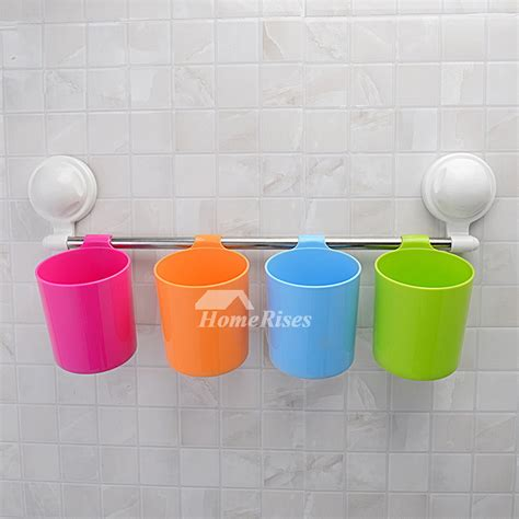 colorful bathroom accessories suction cup colorful cup hanging toothbrush holder