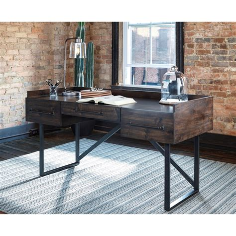 modern rusticindustrial home office desk  steel base  signature design  ashley wolf