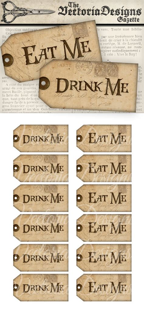 printable drink tags printable drink me eat me tags alice in wonderland decor party