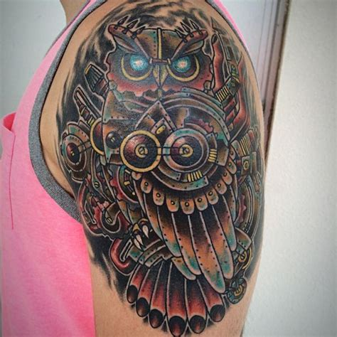 mechanical owl tattoo design 52 steunk tattoo designs you have to like