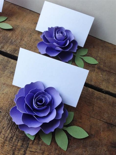 Paper Flowers For Card - purple lavender paper flower place cards cards